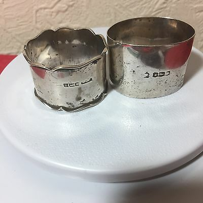 2 x Solid Silver Napkin Rings: 47g