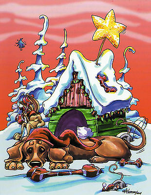 Dachshund Smooth Christmas Card by Mike McCartney