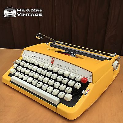 Special Brother deluxe Yellow Typewriter Working red black ribbon Vintage rare