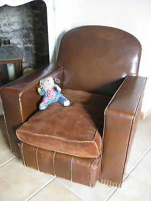 GENUINE FAUX LEATHER VINTAGE DECO 1920s club style chair ONE OF A PAIR