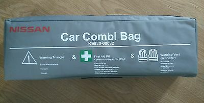 Genuine Nissan Emergency Safety Kit With Bag New! First Aid,vests,triangle