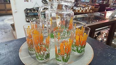 Vintage Cactus Water Pitcher And 6 Glasses