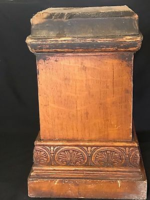 "GORGEOUS Antique Oak & Veneers Pillar Column Newel Post Base 15 lbs 15"" tall (A)"