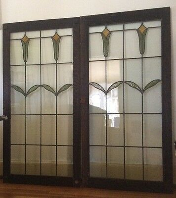 Two Bungalow, Arts&Crafts, Antique Leaded, Stained Glass Windows In Oak Frames,