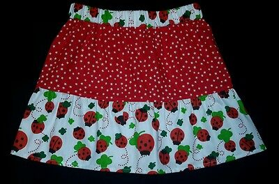 New Girls Ladybirds & Stars Frilly Skirt. Age 3-5. Unique Original Retro. Quirky