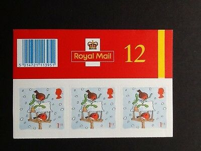 GB 2001 LX21 Christmas barcode booklet. 12x1st MNH S/A Stamps.