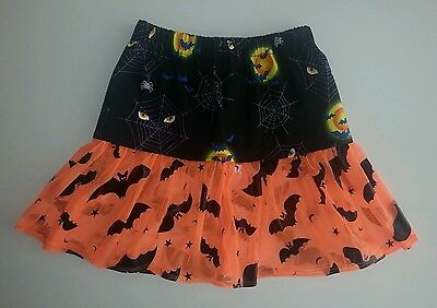 New girls Halloween themed spider web & bats frilly skirt. Age 5-9. Goth emo
