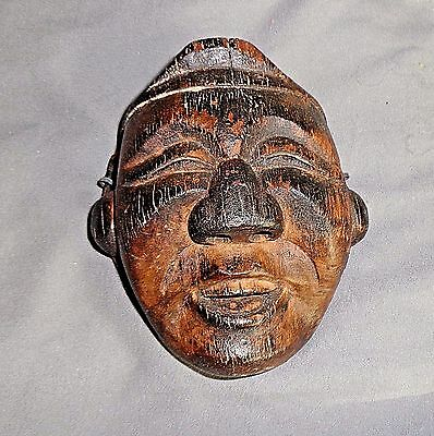 Antique Japanese Hand Carved Wooden Small Mask