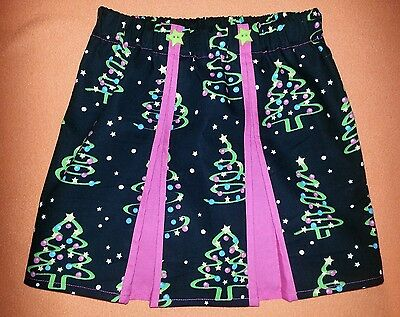 New Girls Christmas Tree Pleated Skirt.  Age 4-6 Xmas Jumper Unique One Off
