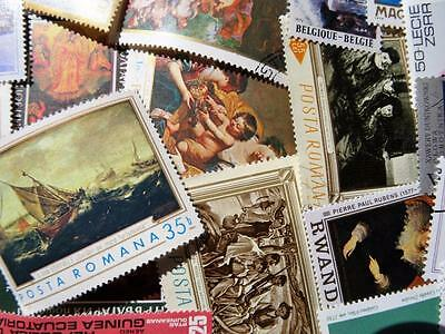 100 Thematic Art Stamps Mainly CTO/Mint Unmounted Singles Sets