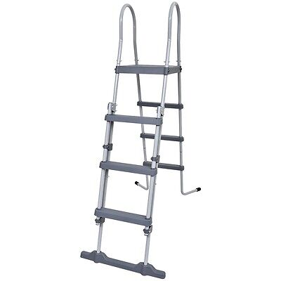 # 3 Step Swimming Pool Safety Ladder Above Ground Grey Plastic Steel Frame 122cm
