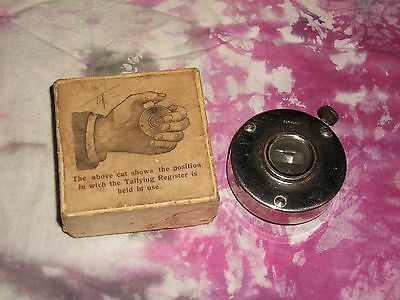 Vintage Hand Counter Tallying Register clicker 1920's w/ box trains events atq !