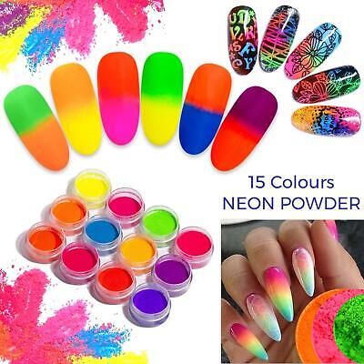 13 Colors Neon Pigment Nails Powder Dust Ombre Phosphor Fluorescent Glowing Uk