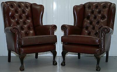 Pair Of Chesterfield Claw And Ball Feet Wingback Fireside Brown Leathe Armchairs