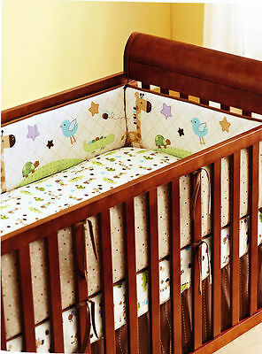 4pc Baby Cot Bumper + Fitted Crib Sheet Set - Giraffe