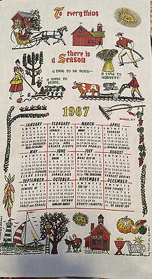 """Vintage 1967 Calendar Towel """"To everything there is a Season"""" Eccles. 3:1"""