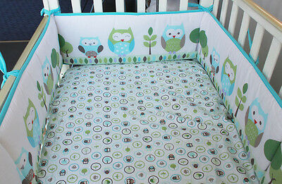 4pc Baby Cot Bumper + Fitted Crib Sheet Set - Owl