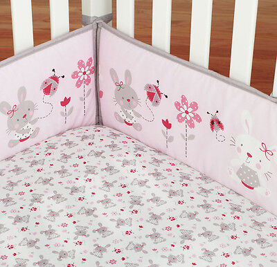 4pc Baby Cot Bumper + Fitted Crib Sheet Set - Rabbit