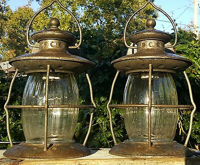 PAIR Bronze Porch Wall Mount Lantern Light Fixtures Cylinder w Heavy Glass Shade