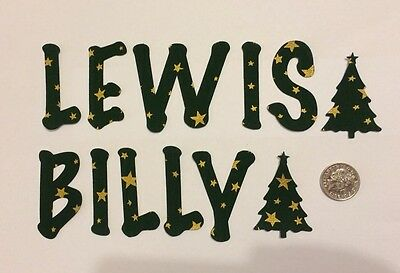 Any 7 Die Cut Iron On Fabric Letters Christmas Bunting  Green Gold Stars Name🎊
