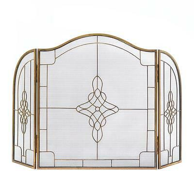 Art Deco Fireplace Screen Three-Piece Framework Iron Geometric Boarder