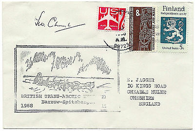 Signed 1st day cover for British Trans-Arctic Expedition Barrow-Spitsbergen 1968