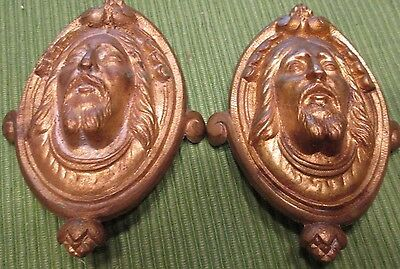 2 Antique Brass Jesus Bearded Man Head Drawer Pulls Architectural Curtain Ties