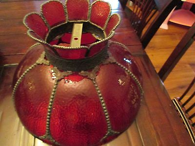 """Vintage Ruby Red Stained Glass Ceiling Hanging/Swag Lamp Shade Brass Finish 19"""""""