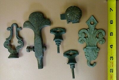Antique Lot of 6 Drawer Handle Pulls Knob Metal Cast Iron