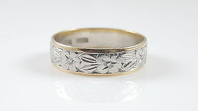 Vintage Platinum & 22Ct Yellow Foliate Engraved Wedding Ring Band 3.8G