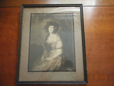 Antique Picture And Frame--Gainsborough Mrs. Sheridan--Sepia Tone Print #4358