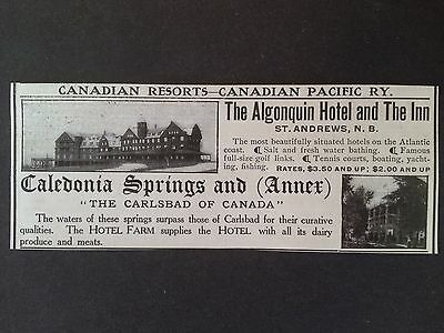 Antique 1907 Ad {E23}~Canadian Resorts. Algonquin And Caledonia Springs