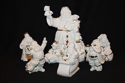 Outstanding Vintage 6 Pcs Lot Of Lenox Gold Trimmed Santa Claus W/music Box
