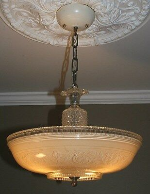 Antique 1940s beige glass art deco light fixture ceiling chandelier original 16""