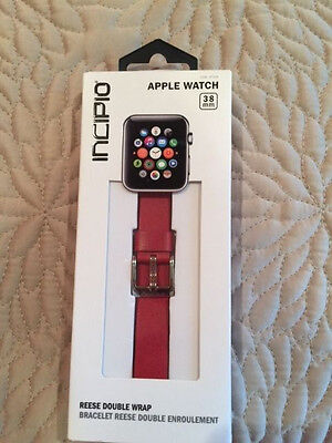 NEW Incipio Apple Watch Band  Premium Leather 38mm RED SEALED