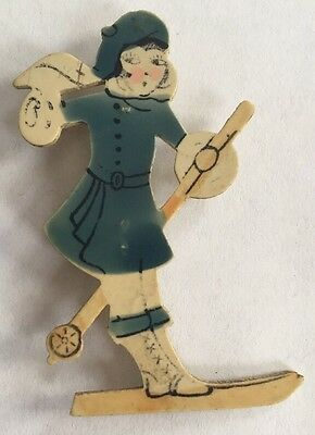 Vintage Hand Painted Celluloid Skiing Girl Brooch Pin