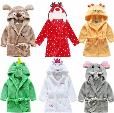 Unisex Children Sleeping Gown Cartoon Animal Boy Girl Baby Pajamas Bathrobes