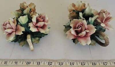 Vintage Capodimonte Candle Holder - Small - Multiple Flowers