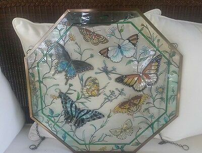 "Square 24""x24"" Stained Glass Butterfly Window Hanging  #0929-1095 Beautiful!"