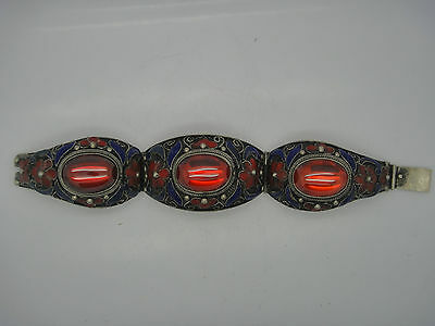 China's Tibet dynasty palace cloisonne silver inlaid zircon bracelet, too NR