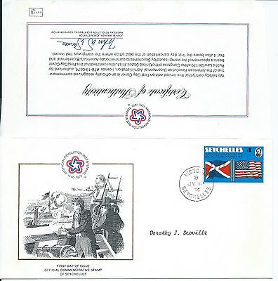 SEYCHELLES Sc# 351 FDC US INDEPENDENCE 1976,SEYCHELLES INDEPENDENCE 1986 COVER