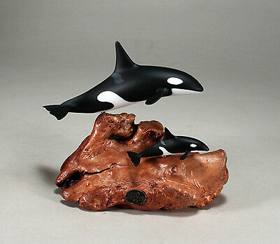 ORCA & CALF KILLER WHALE Statue New Direct from JOHN PERRY 4in high Sculpture