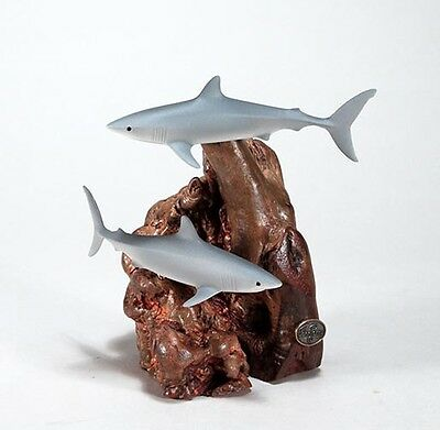 MAKO SHARK DUO Statue New direct from JOHN PERRY Figurine on Wood 7in Tall