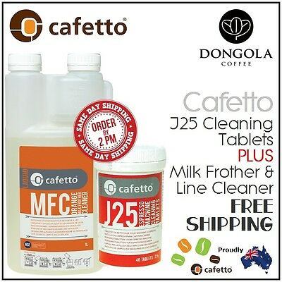 40x J25 Coffee Machine Cleaning Tablets + MFC Milk Frother Steamer Line Cleaner