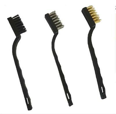 MINI WIRE BRUSH SET 3x BRASS NYLON & STAINLESS STEEL BRISTLE JEWELRY CLEANING HF
