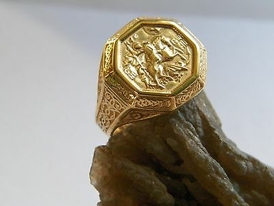 """.925 Sterling Silver Russian Orthodox Ring """"St. George The Concueror"""" 14 K G PL"""