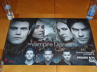 Sdcc 2016 Exclusive Vampire Diaries 11 X 17 Poster Signed By Cast, Paul Wesley