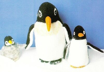 CUTE PENGUINS - 3 sizes / 8ply or DK - toy knitting pattern