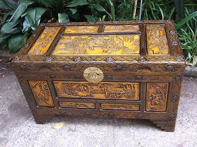 Antique Chinese Carved Camphor Trunk /Chest /Oriental Box