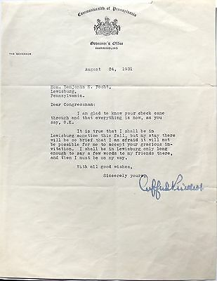 Gifford Pinchot Governor, 1st Chief U.S Forrest Service 1905 1910 Signed Letter